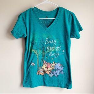 Disney Parks Winnie The Pooh Sparkle V-Neck Tee